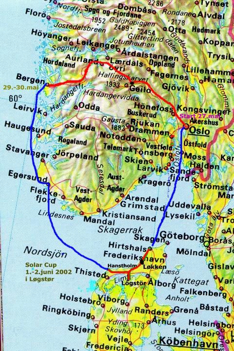 oslo bergen kart EV2002   ruteplan med batteriELbil Oslo   Bergen   Danmark oslo bergen kart