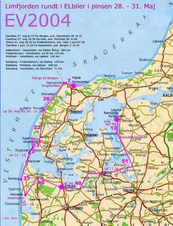 kart jylland EV2004   med batteriELbil til Limfjord, Jylland, Danmark  kart jylland